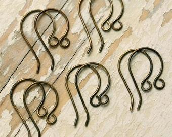 20 pr Handmade Antiqued Brass Ear Wires, 20g - Solid Brass Earwires, Oxidized Findings, Bulk