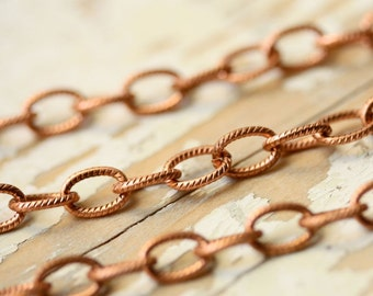 20ft Textured Copper Chain 8mm x 6mm, Elongated Oval Etched Solid Copper Cable Chain, Patterned Links, Large, Bulk