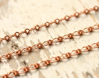 20ft Solid Copper Chain 3mm, Small Ladder Cable Chain, Round Wire Fine Fancy Link, Strong, Pure Copper