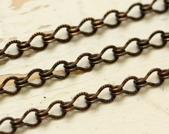 6ft 4mm Etched Ladder Chain Patterned Solid Brass Oxidized Textured Antiqued Brass Chain Medium Link 4x6mm