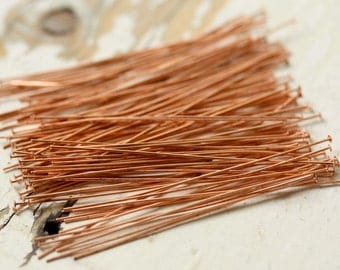 "2"" 24g Solid Copper Headpins Flat Rounded 1.5mm Heads - 100 pieces Head Pin, Findings"