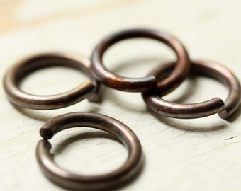 "14g Huge Antiqued Brass Jump Rings 3/8"" ID, 14mm Jumprings, Large Saw Cut Open, Aged Oxidized Solid Brass Findings"