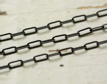 6ft Antiqued Brass Chain Flat Link 5.5mm x 2.5mm Oval  SOLDERED Elongated Small Drawn Hammered Cable Chain