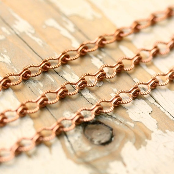 20ft Textured Copper Chain 4mm, Ladder Chain Etched Solid Copper, Medium Patterned Link, Fancy Chain