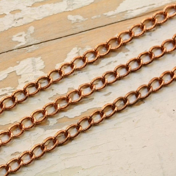 6ft Textured Copper Curb Chain 6mm, Patterned Etched Link, Solid Copper Twisted Cable Medium, Nickel Free