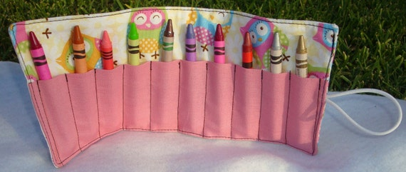 Owl Girls Crayon Roll Up