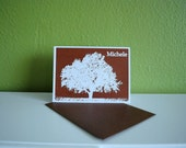 Tree in Field Note Cards - Personalized Fall Stationery in Brown and White, set of 8