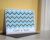 Married Wedding Chevron Zig Zag Note Cards- Personalized Couples Stationery, set of 8