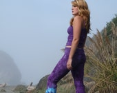 Purple and Turquoise Nautalis Spiral Yoga Pants