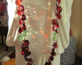 Red Garnet with Green Cushion Cut Apatite on Sterling Chain SALE
