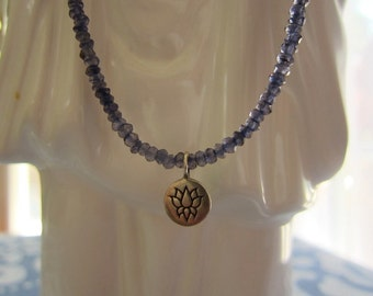 Iolite Choker with Sterling Silver Lotus Charm