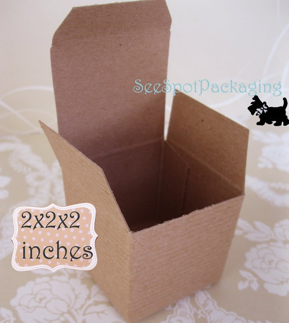 Gift Boxes Kraft Favor box paper  truffle jewelry ring wedding Christmas 25 boxes 2x2x2 inches Packaging