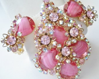 1960's Juliana Pink Givre Art Glass Pink Rhinestones Large Brooch and Clip Earrings Set Brooch Will Convert to Necklace Pendant