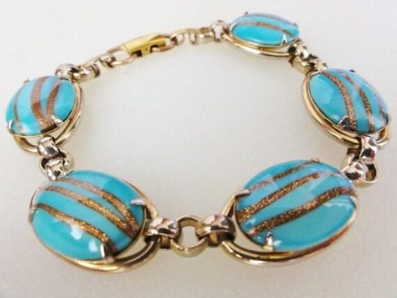 Vintage Goldette Bracelet Turquoise Blue and Gold Art Glass Stones Very Pretty Bracelet