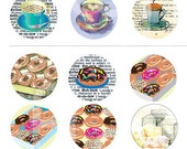 Coffee, Tea & Donuts 1 inch circle Digital Printable