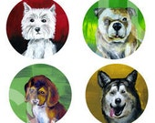 Dogs Puppies 1 inch Circle Digital Printables Bottlecap