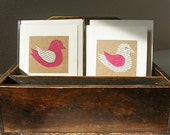 3 Birdie Note-Cards, Handmade, Vintage Italian Text & Pink Tissue-paper. Retro Gift, Any Occasion, Birthday, Thank You, Miss You
