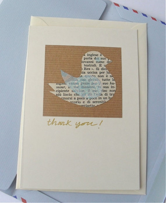Bird Thank You Card, Vintage Italian Text, Handmade Collage, Father's Day, Retro Birdie