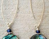 Abalone Shell Dangles, Abalone Earrings, Abalone Dangle Earrings