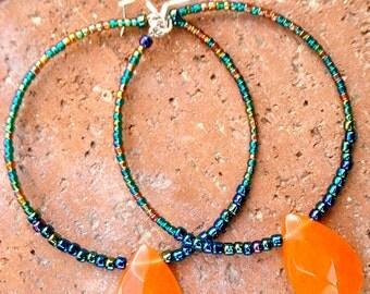 Orange Chalcedony and Turquoise Beaded Hoops