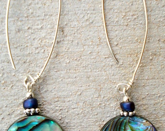 Abalone Shell Dangles, Abalone Earrings, Abalone Dangle Earrings
