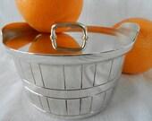 HALF PRICE Gorham Butter Silver Silverplate Vintage Bushel Bowl Crock Basket Barrel Lid