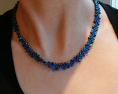 Teal bead crochet necklace