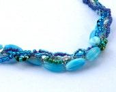 Bead Crochet Necklace in Blue