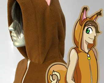 Squirrel Hoodie, Costume, Cosplay, Adult Size, Hand-made