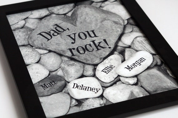 Family Tree, Heart Rock Garden 8x10 black & white personalized print....Gift for Mom, Gift for Dad, Gift for Parents, Gift for Grandparents
