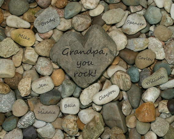 Family Tree, Heart Rock Garden 11x14 personalized print....Gift for Mom, Gift for Dad, Gift for Parents, Gift for Grandparents