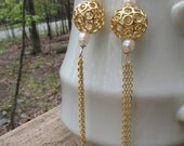 16 karat gold filled chain and pearls fun gold mystic balls earrings