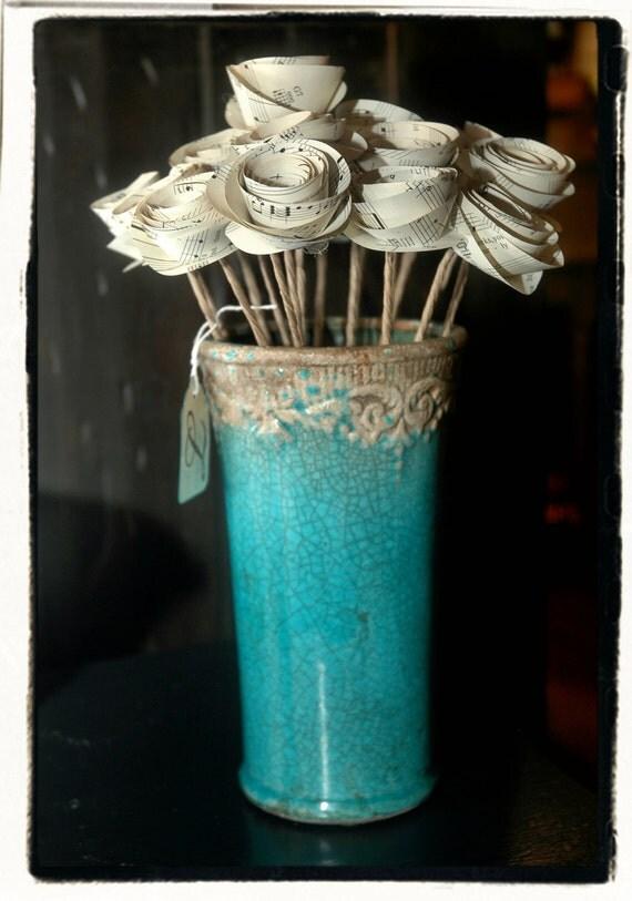 Antiqued Teal vase with Sheet Music rosettes
