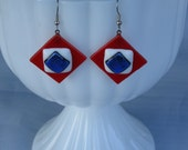 Red White and Blue Fused Dichroic Earrings - Item 1-1194