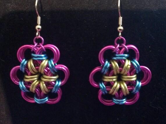 Pinkie Pie inspired handmade japanese flower chainmaille earrings