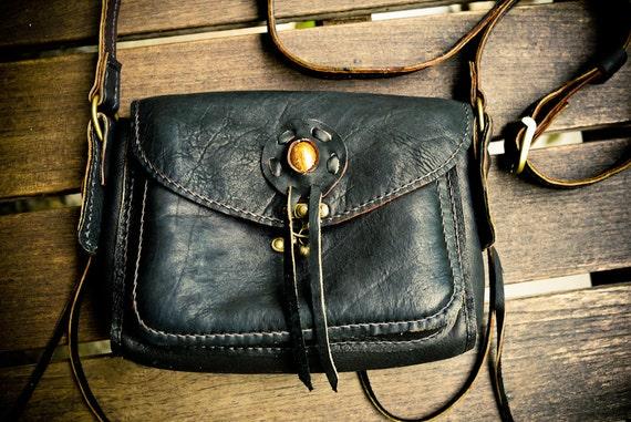 Gypsy Nomad Cross-Body Black Leather Purse