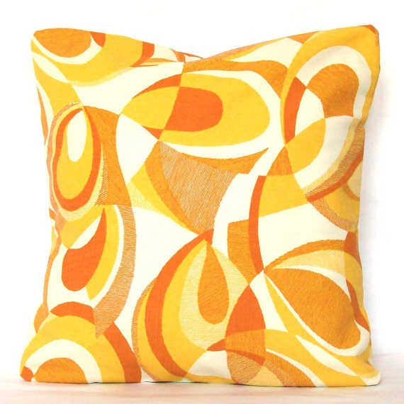 Yellow Pillow Cover - Outdoor 18x18 inch Decorative Cushion Cover - Indoor Outdoor Citrus Yellow Orange Swirl - REDUCED