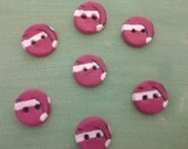 Set of 7 hand made buttons painted with santa hats