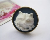 ring--white resin cat,alloy adjustable round ring