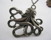 necklace---antique silver octopus,alloy necklace