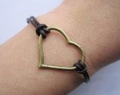 Lover bracelet--- antique bronze love bracelet heart pendant,brown leather bracelet