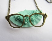necklace---antique bronze glasses,alloy necklace