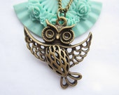 Owl necklace---antique bronze 3D cute hollow-out owl with big wings,alloy chain