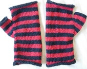black and red striped fingerless gloves knitted with 100% wool yarn