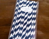 25 Navy Blue Retro Striped Paper Straws with DIY White Printable Flags