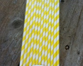 25 Yellow Retro Striped Paper Straws with DIY White Printable Flags