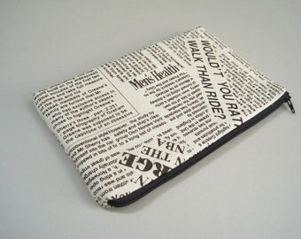 Kindle Case, Kindle 3 Case, Padded Linen Cover, Newspaper.