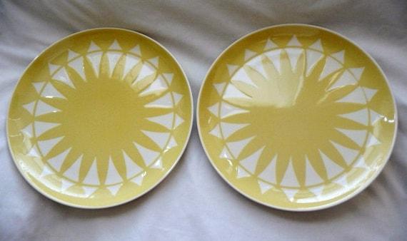 Rare Vintage Sun Glow Harkerware Plates