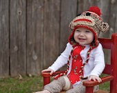 Sock Monkey Earflap Hat Crochet Pattern PDF Document -- Baby and Toddler sizes
