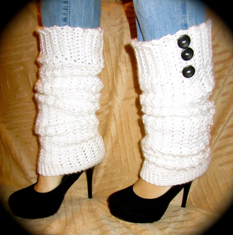 White Crochet Leg Warmers Size Large